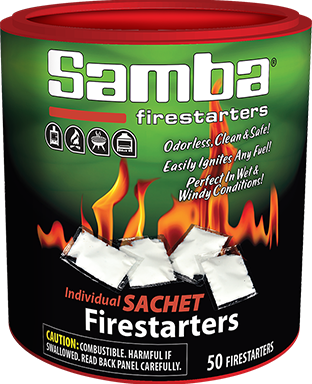 Samba® 50ct Individual Sachet Firestarters Re-closeable Tube