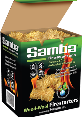 Samba® 24ct Wood-Wool Firestarters Re-closeable Box